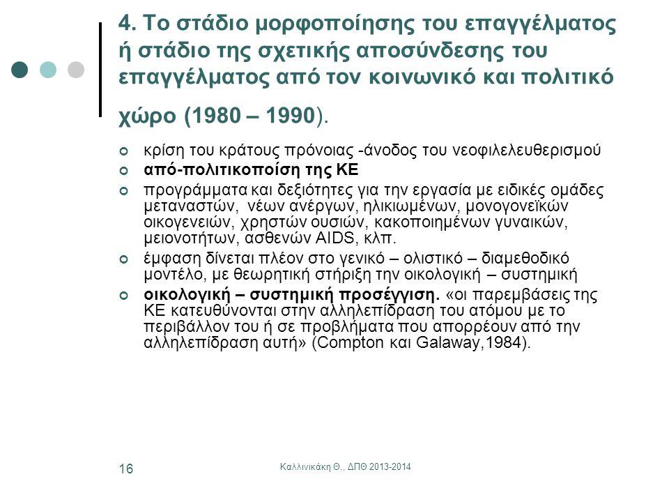 4. Το στάδιο μορφοποίησης του επαγγέλματος ή στάδιο της σχετικής αποσύνδεσης του επαγγέλματος από τον κοινωνικό και πολιτικό χώρο (1980 – 1990).
