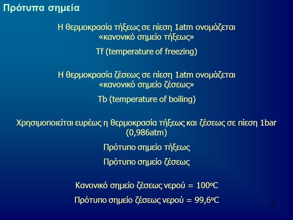 Πρότυπα σημεία Η θερμοκρασία τήξεως σε πίεση 1atm ονομάζεται «κανονικό σημείο τήξεως»