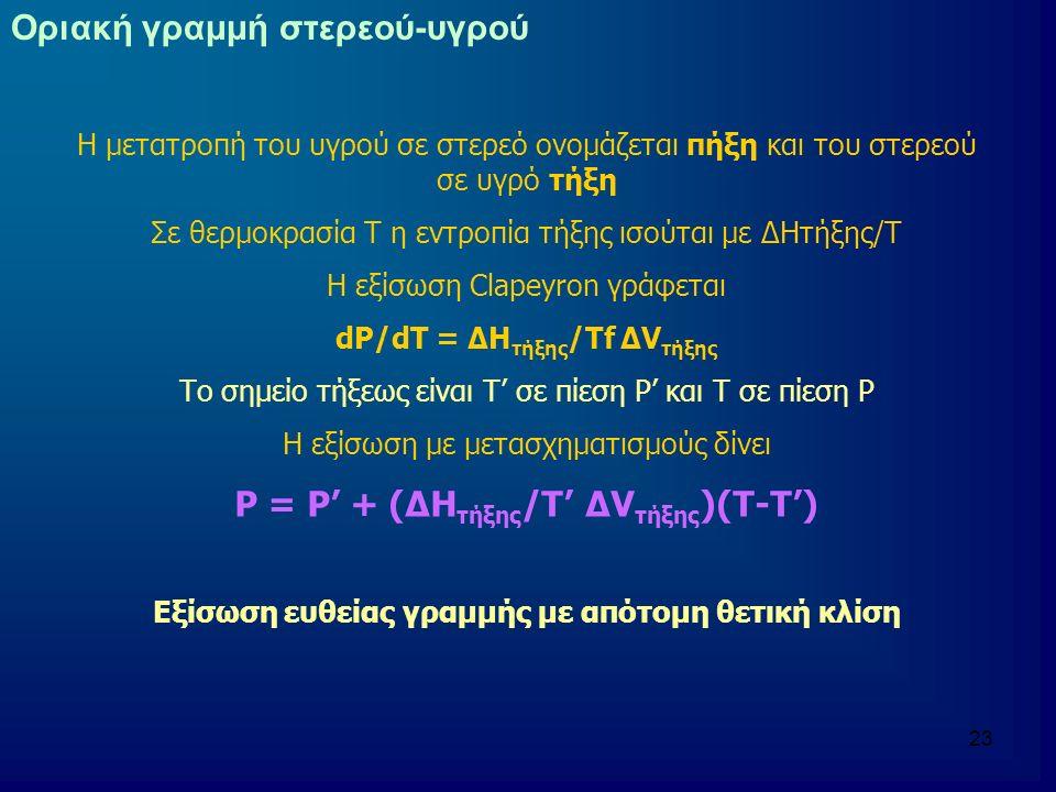 Ρ = Ρ' + (ΔHτήξης/Τ' ΔVτήξης)(Τ-Τ')