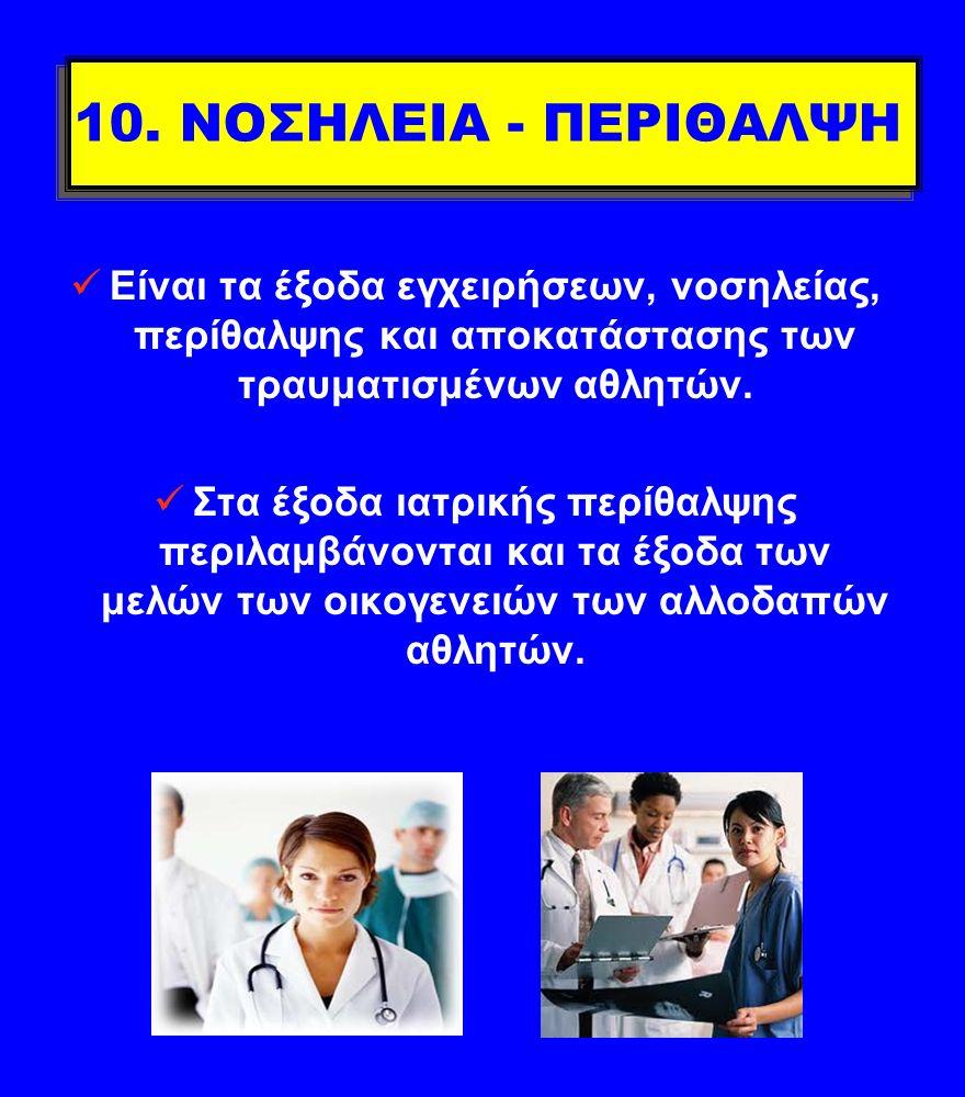 10. ΝΟΣΗΛΕΙΑ - ΠΕΡΙΘΑΛΨΗ Είναι τα έξοδα εγχειρήσεων, νοσηλείας, περίθαλψης και αποκατάστασης των τραυματισμένων αθλητών.