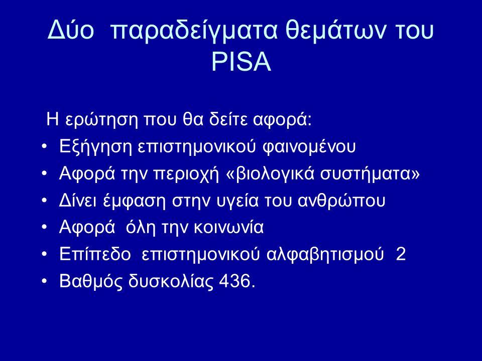 Δύο παραδείγματα θεμάτων του PISA