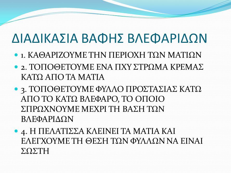 ΔΙΑΔΙΚΑΣΙΑ ΒΑΦΗΣ ΒΛΕΦΑΡΙΔΩΝ