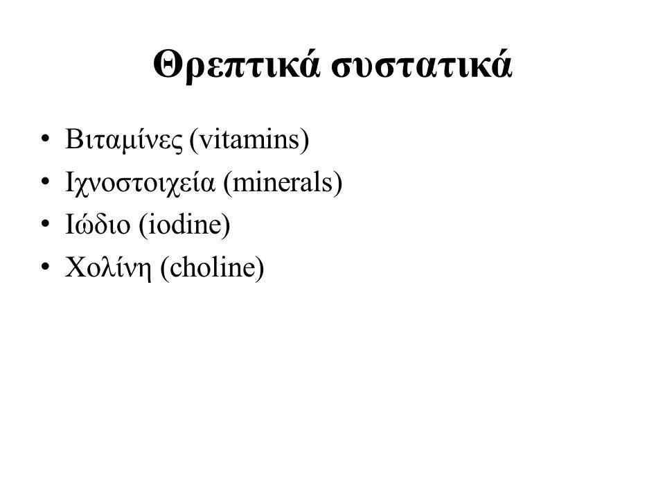 Θρεπτικά συστατικά Βιταμίνες (vitamins) Ιχνοστοιχεία (minerals)