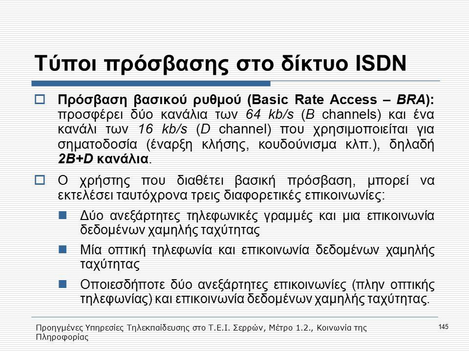Τύποι πρόσβασης στο δίκτυο ISDN