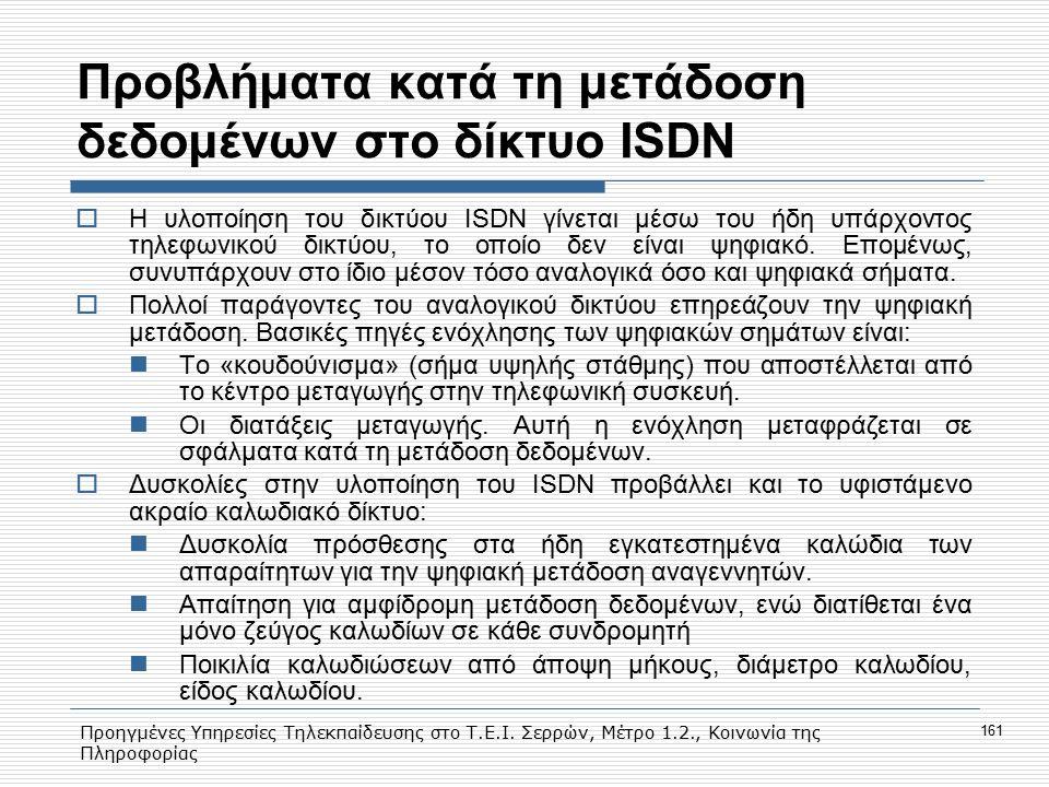 Προβλήματα κατά τη μετάδοση δεδομένων στο δίκτυο ISDN