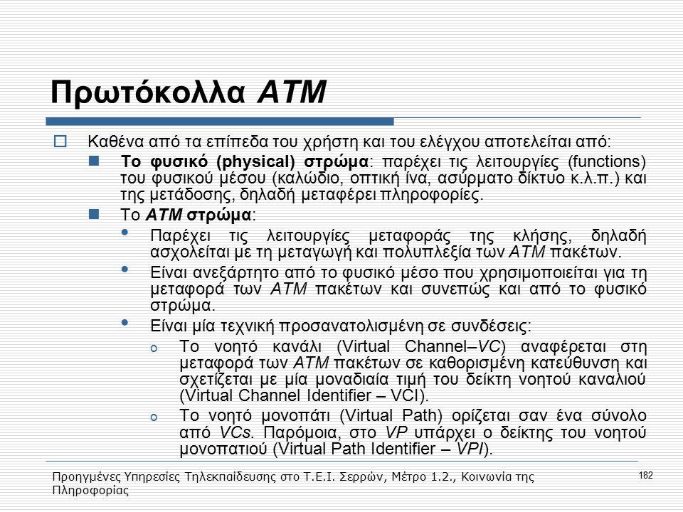 Πρωτόκολλα ΑΤΜ Kαθένα από τα επίπεδα του χρήστη και του ελέγχου αποτελείται από: