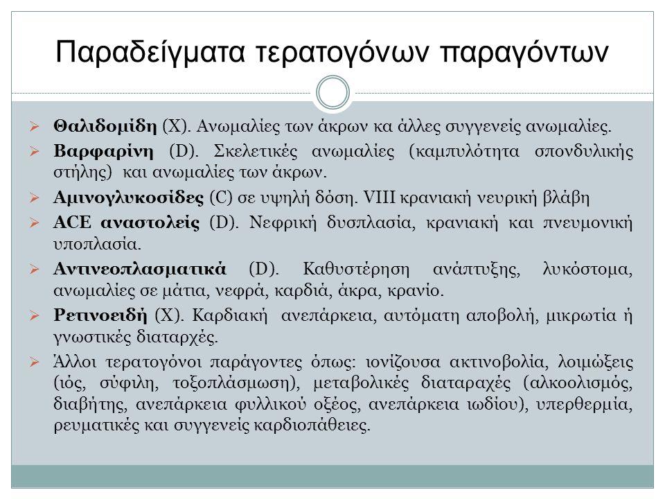 Παραδείγματα τερατογόνων παραγόντων