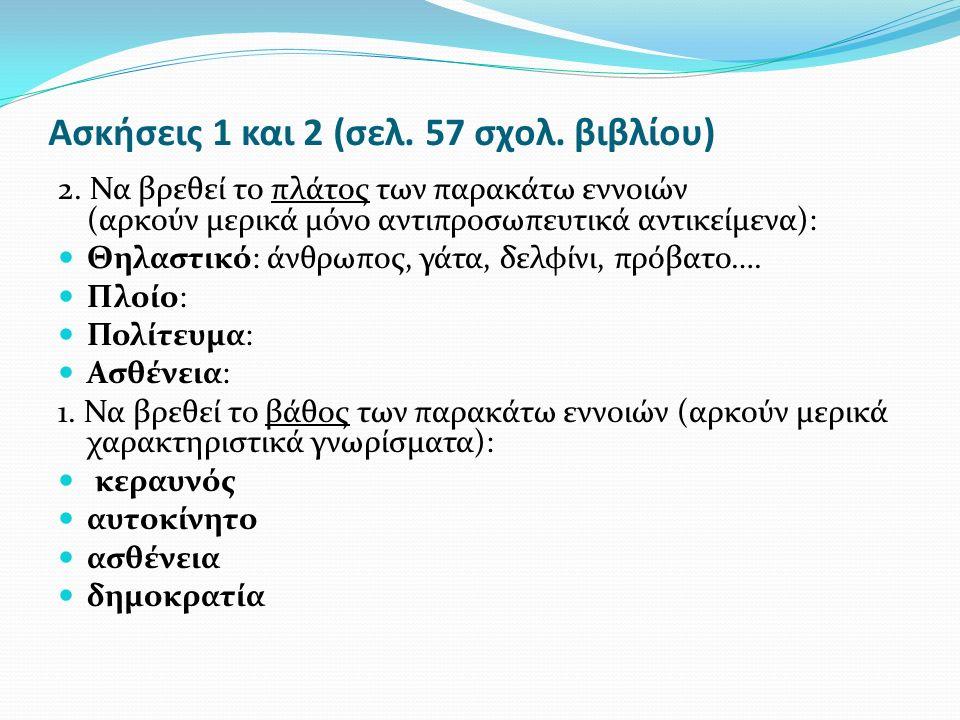Ασκήσεις 1 και 2 (σελ. 57 σχολ. βιβλίου)