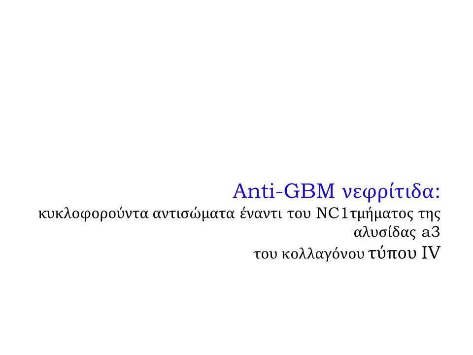 Anti-GBM νεφρίτιδα: κυκλοφορούντα αντισώματα έναντι του NC1τμήματος της αλυσίδας a3 του κολλαγόνου τύπου IV