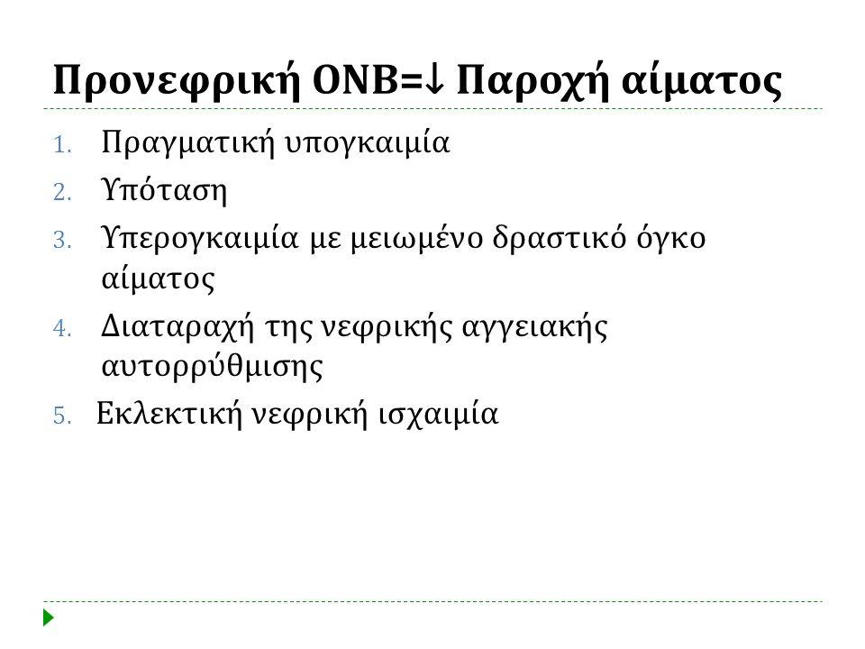 Προνεφρική ΟΝΒ=↓ Παροχή αίματος