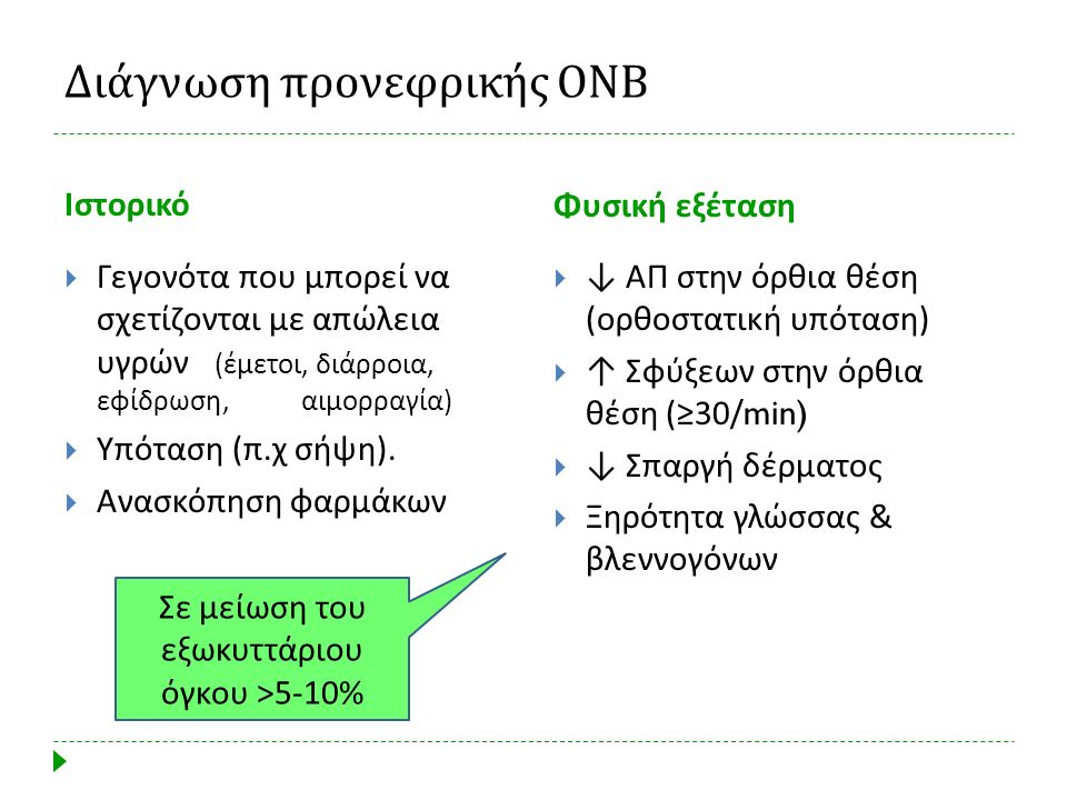 Διάγνωση προνεφρικής ΟΝΒ