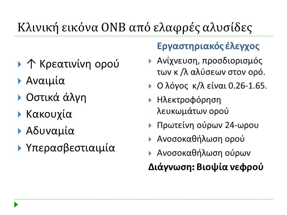 Κλινική εικόνα ΟΝΒ από ελαφρές αλυσίδες