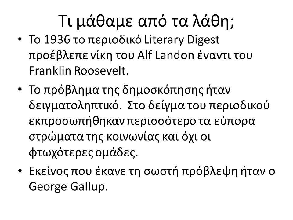 Τι μάθαμε από τα λάθη; Το 1936 το περιοδικό Literary Digest προέβλεπε νίκη του Alf Landon έναντι του Franklin Roosevelt.