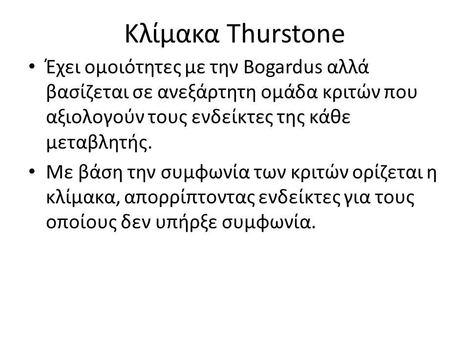 Κλίμακα Thurstone Έχει ομοιότητες με την Bogardus αλλά βασίζεται σε ανεξάρτητη ομάδα κριτών που αξιολογούν τους ενδείκτες της κάθε μεταβλητής.