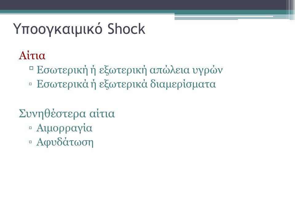 Υποογκαιμικό Shock Αίτια Συνηθέστερα αίτια