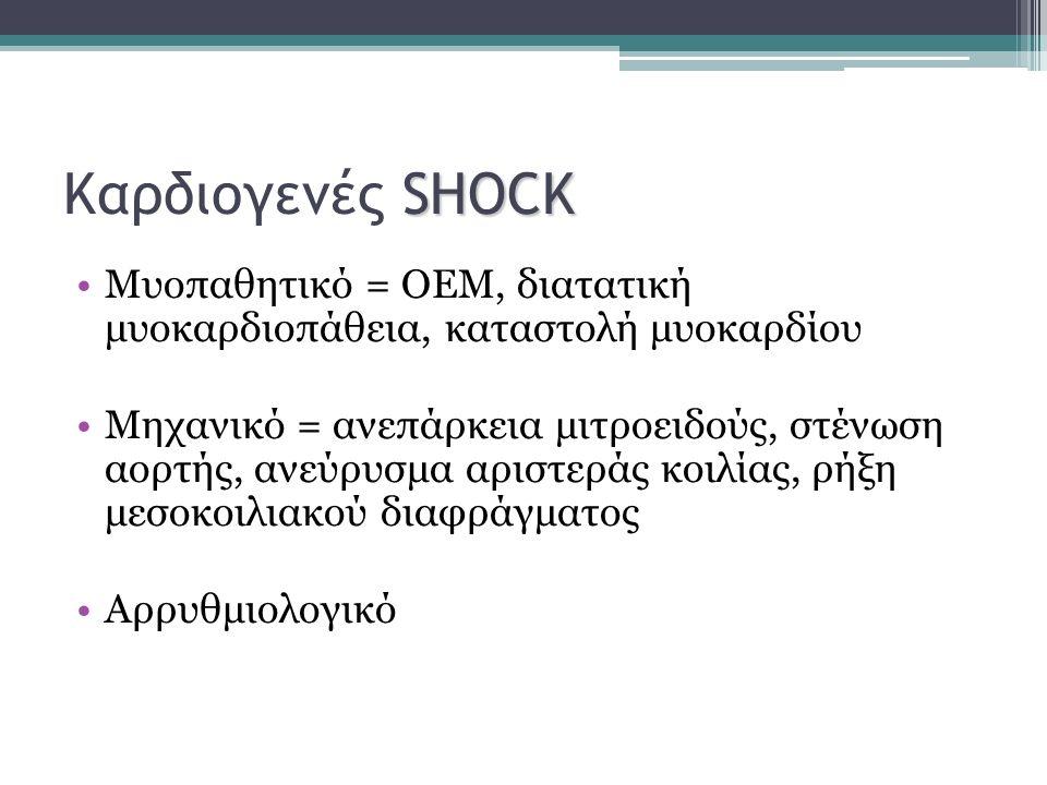 Καρδιογενές SHOCK Μυοπαθητικό = ΟΕΜ, διατατική μυοκαρδιοπάθεια, καταστολή μυοκαρδίου.