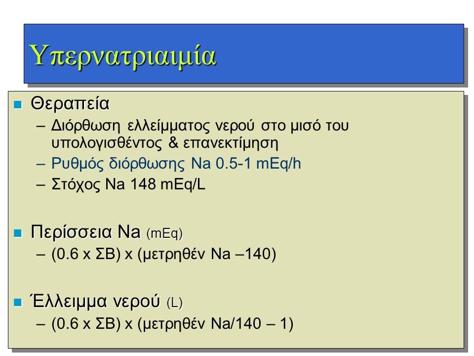 Υπερνατριαιμία Θεραπεία Περίσσεια Na (mEq) Έλλειμμα νερού (L)