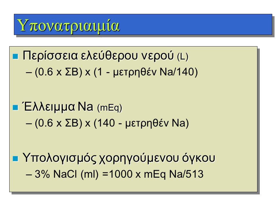 Υπονατριαιμία Περίσσεια ελεύθερου νερού (L) Έλλειμμα Na (mEq)