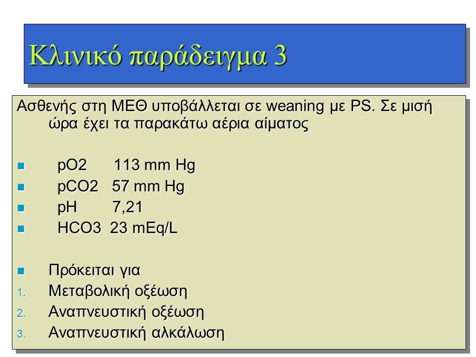 Κλινικό παράδειγμα 3 Ασθενής στη ΜΕΘ υποβάλλεται σε weaning με PS. Σε μισή ώρα έχει τα παρακάτω αέρια αίματος.