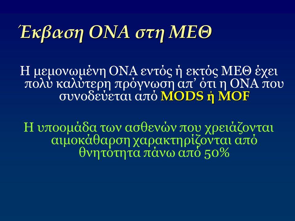 Έκβαση ΟΝΑ στη ΜΕΘ Η μεμονωμένη ΟΝΑ εντός ή εκτός ΜΕΘ έχει πολύ καλύτερη πρόγνωση απ' ότι η ΟΝΑ που συνοδεύεται από MODS ή MOF.