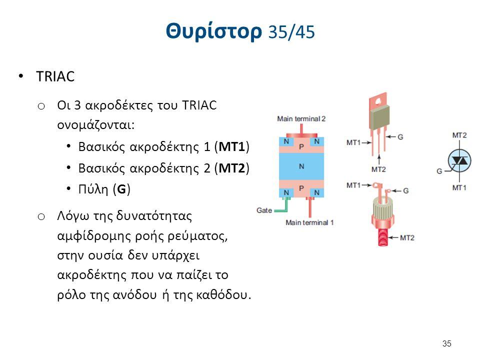 Θυρίστορ 36/45 TRIAC. Ενεργοποιείται με την εφαρμογή θετικού ή αρνητικού ρεύματος στην πύλη.