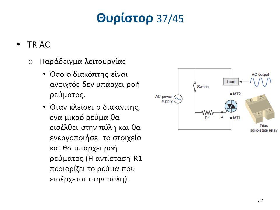 Θυρίστορ 38/45 TRIAC Παράδειγμα λειτουργίας