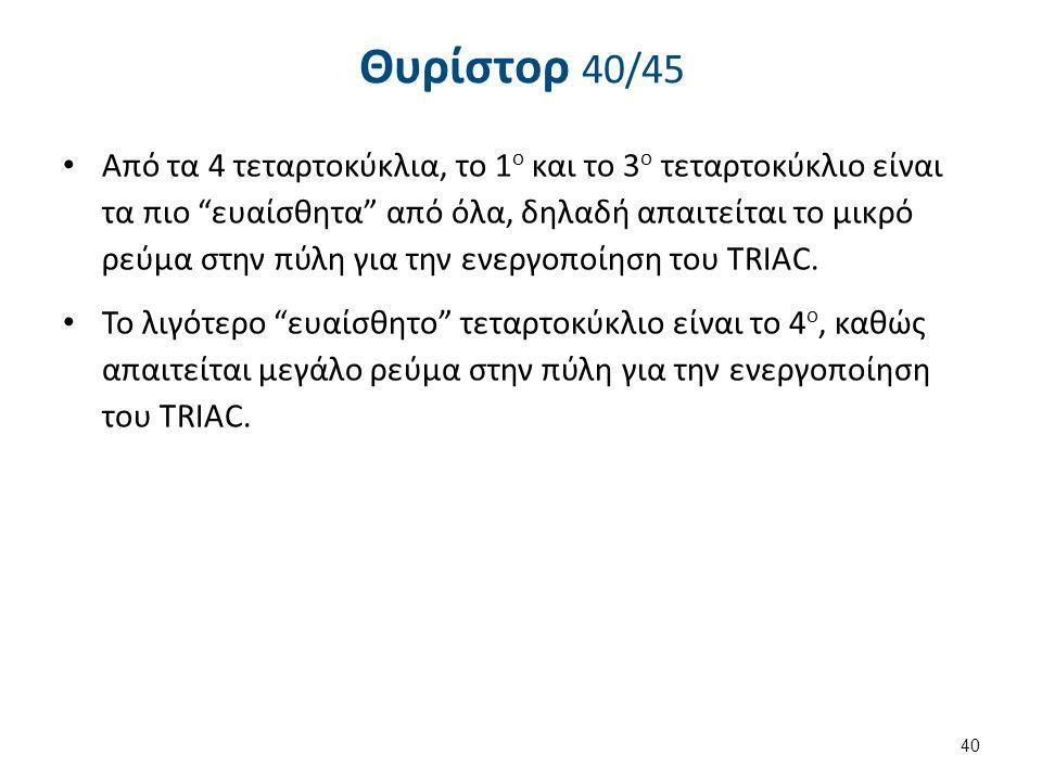 Θυρίστορ 41/45 TRIAC Παράδειγμα (διακόπτες dimmer)