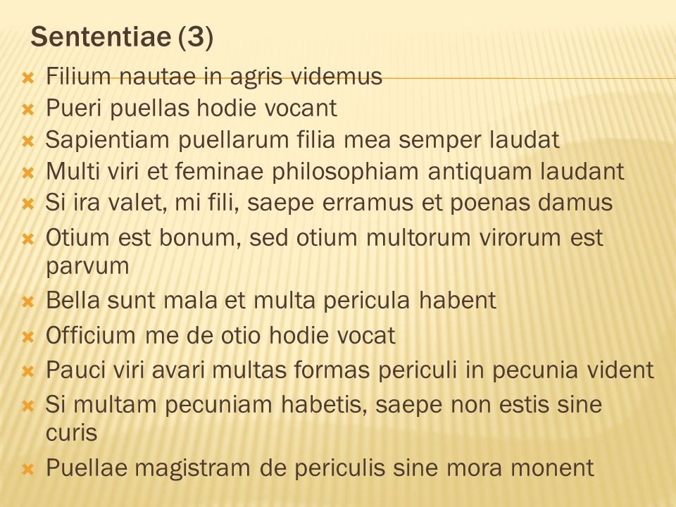 Sententiae (3) Filium nautae in agris videmus