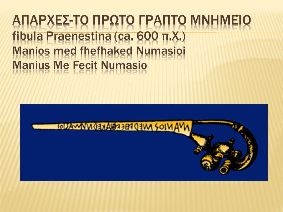 Απαρχες-Το Πρωτο Γραπτο Μνημείο fibula Praenestina (ca. 600 π. Χ