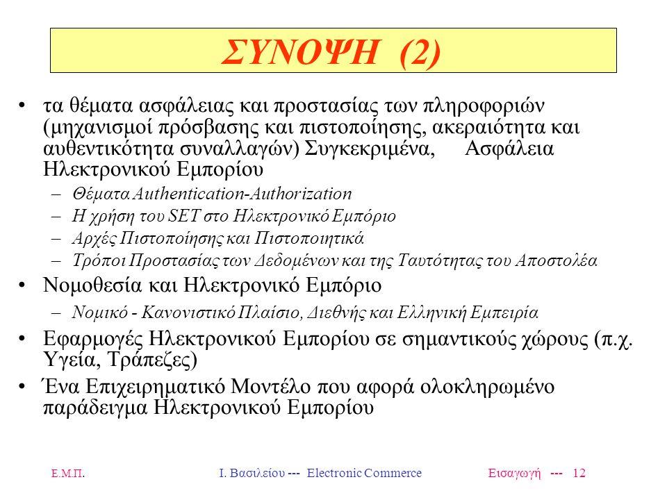 Ι. Βασιλείου --- Electronic Commerce Εισαγωγή --- 12