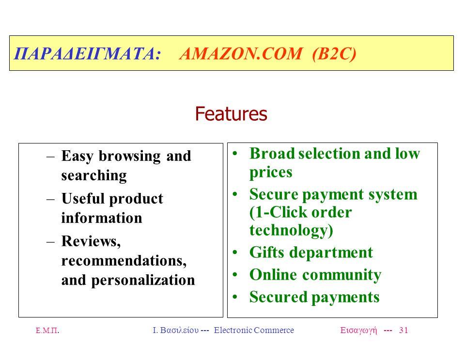 ΠΑΡΑΔΕΙΓΜΑΤΑ: AMAZON.COM (Β2C)