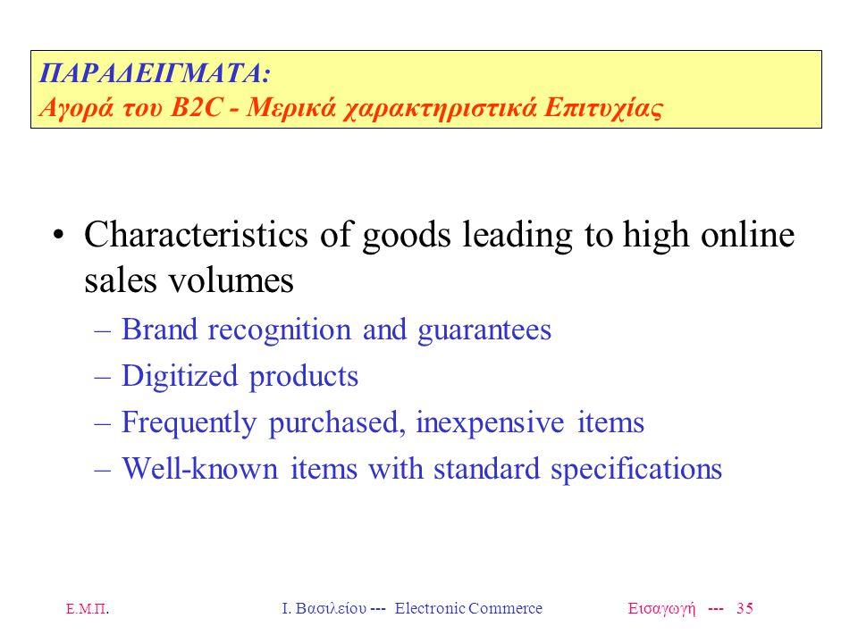 ΠΑΡΑΔΕΙΓΜΑΤΑ: Αγορά του Β2C - Μερικά χαρακτηριστικά Επιτυχίας