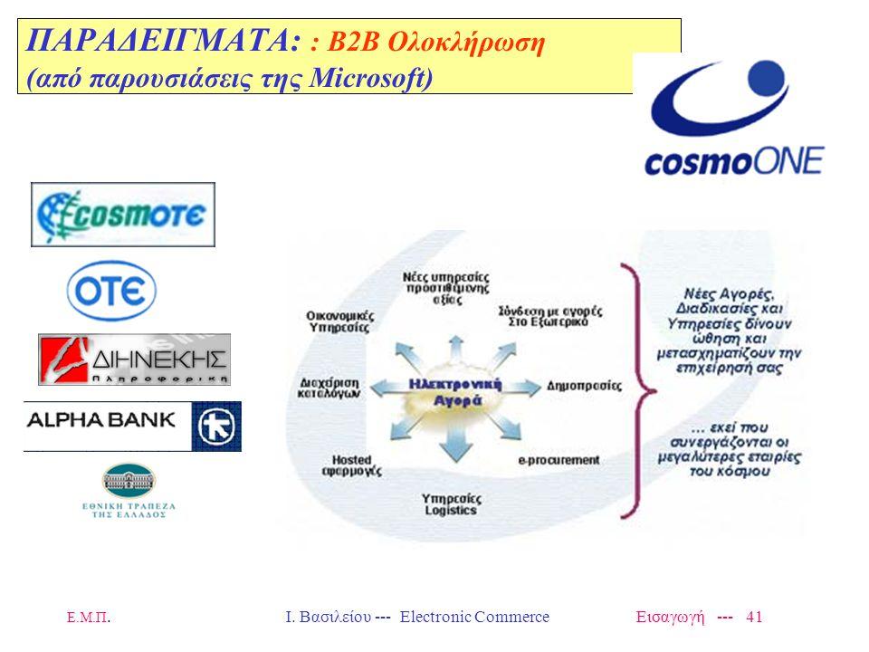 ΠΑΡΑΔΕΙΓΜΑΤΑ: : B2B Ολοκλήρωση (από παρουσιάσεις της Microsoft)