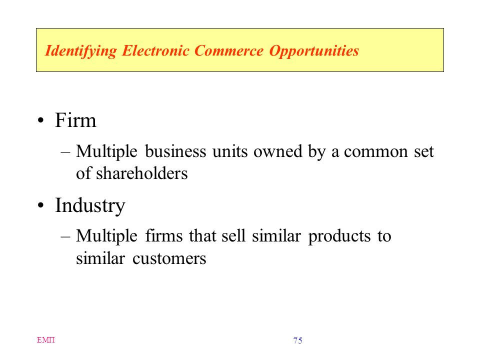 Identifying Electronic Commerce Opportunities