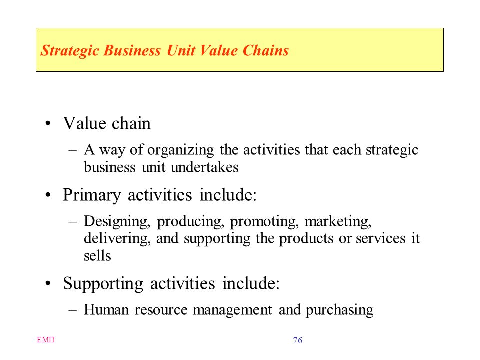 Strategic Business Unit Value Chains