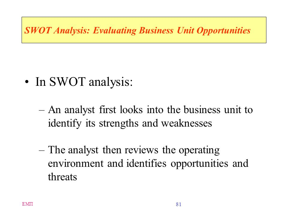 SWOT Analysis: Evaluating Business Unit Opportunities