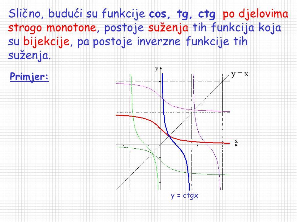 Slično, budući su funkcije cos, tg, ctg po djelovima strogo monotone, postoje suženja tih funkcija koja su bijekcije, pa postoje inverzne funkcije tih suženja.