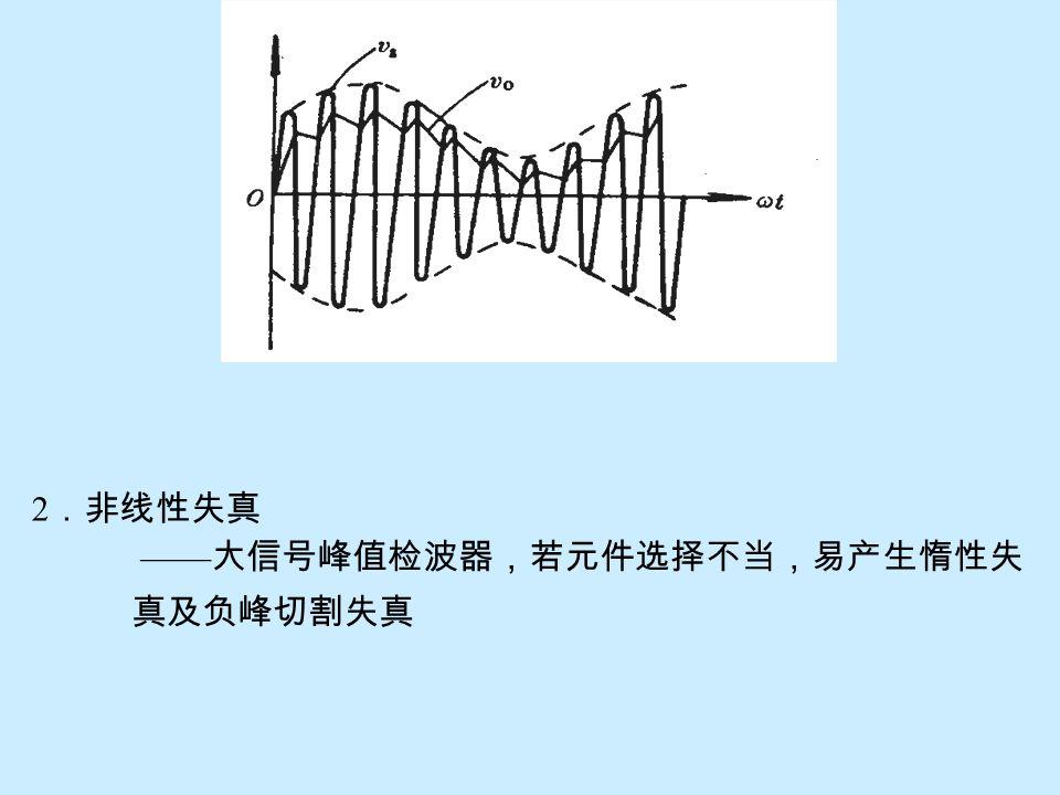2.非线性失真 ——大信号峰值检波器,若元件选择不当,易产生惰性失 真及负峰切割失真