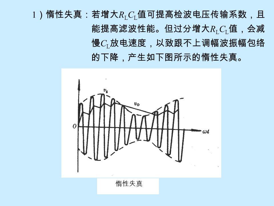 1)惰性失真:若增大RLCL值可提高检波电压传输系数,且 能提高滤波性能。但过分增大RLCL值,会减