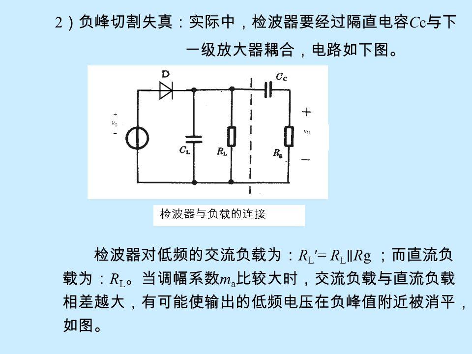 2)负峰切割失真:实际中,检波器要经过隔直电容Cc与下 一级放大器耦合,电路如下图。