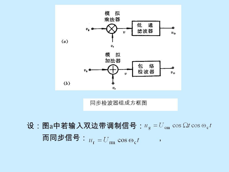 同步检波器组成方框图 设:图a中若输入双边带调制信号: 而同步信号: ,