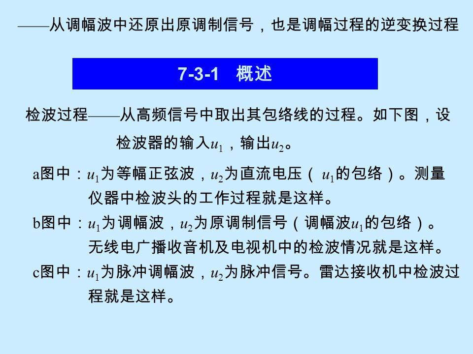 7-3-1 概述 ——从调幅波中还原出原调制信号,也是调幅过程的逆变换过程 检波过程——从高频信号中取出其包络线的过程。如下图,设