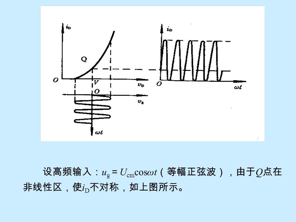 设高频输入:ug=Ucmcosωt(等幅正弦波),由于Q点在非线性区,使iD不对称,如上图所示。