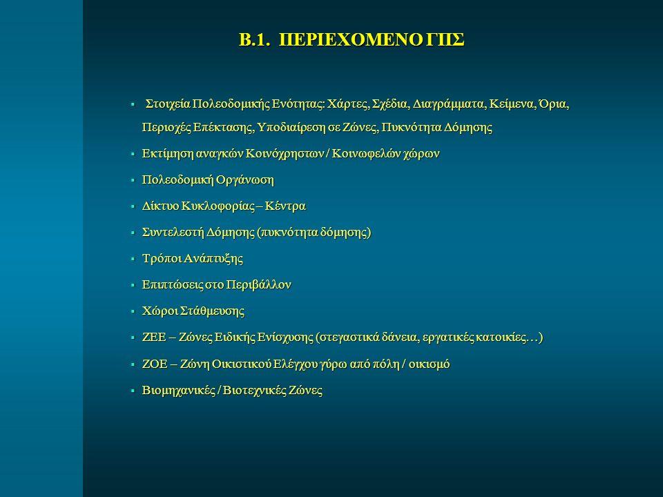 Β.1. ΠΕΡΙΕΧΟΜΕΝΟ ΓΠΣ