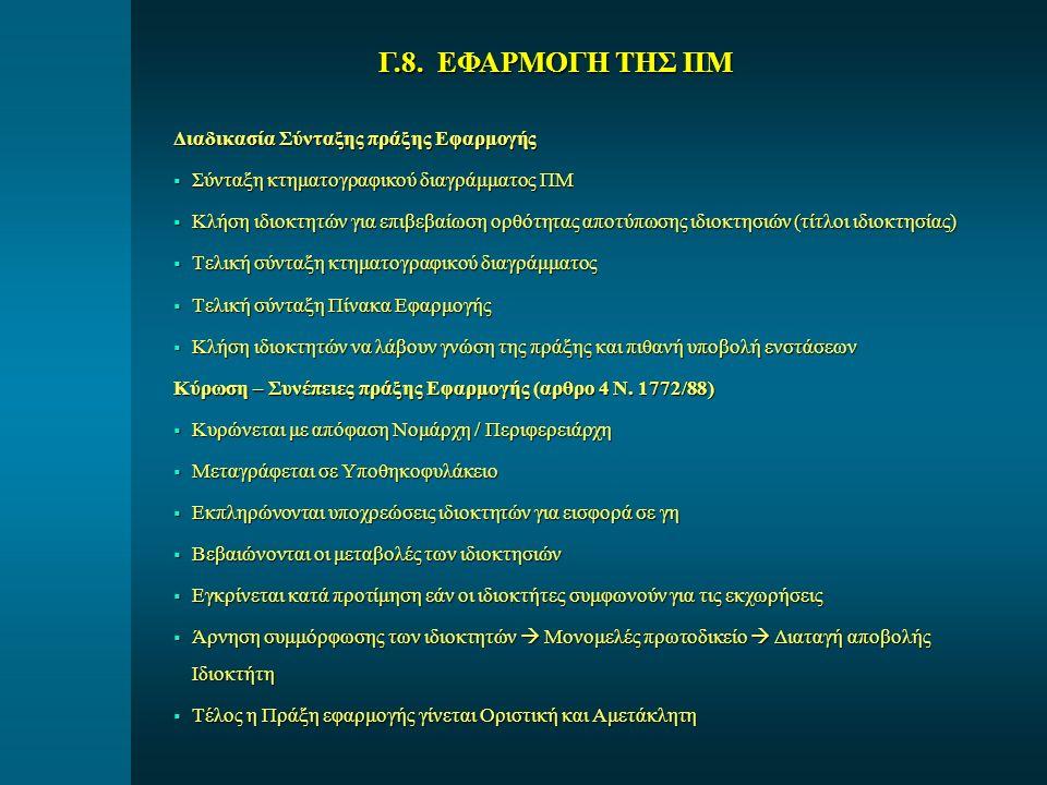 Γ.8. ΕΦΑΡΜΟΓΗ ΤΗΣ ΠΜ Διαδικασία Σύνταξης πράξης Εφαρμογής
