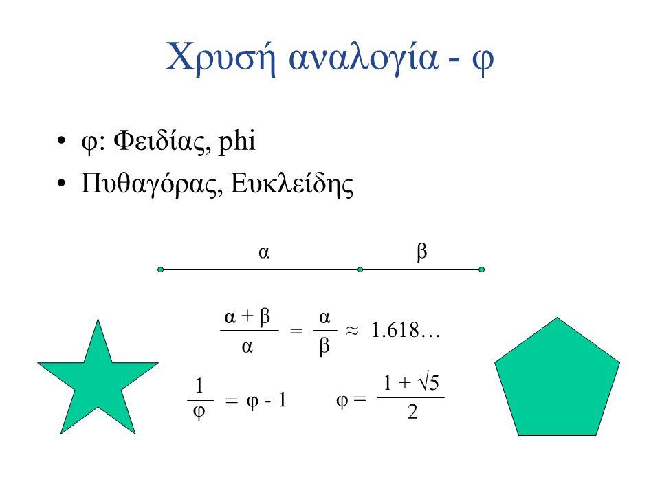 Χρυσή αναλογία - φ φ: Φειδίας, phi Πυθαγόρας, Ευκλείδης α β α + β α =