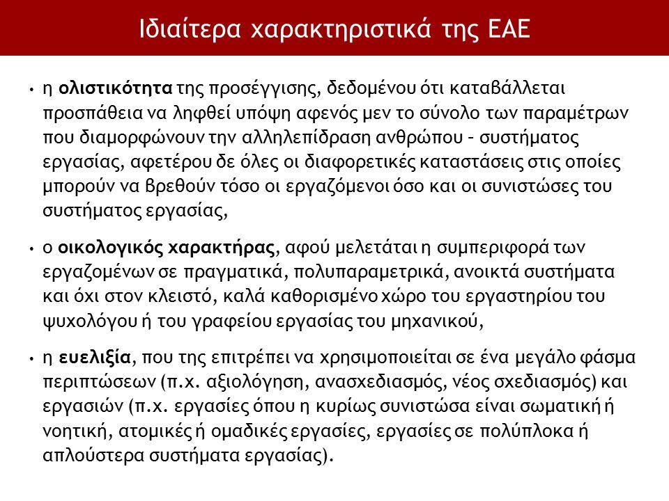 Ιδιαίτερα χαρακτηριστικά της ΕΑΕ