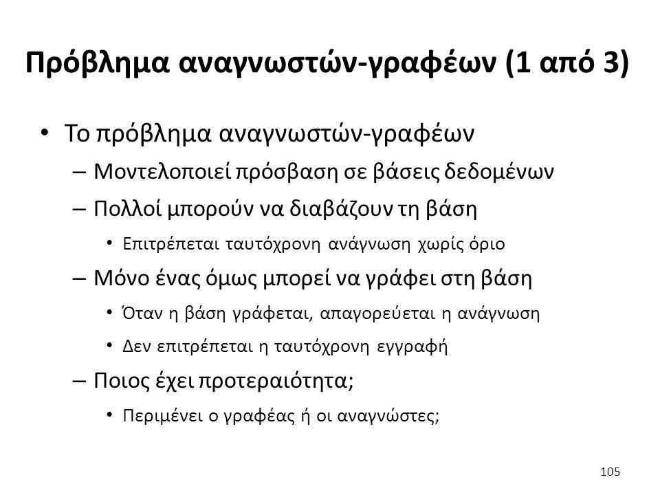 Πρόβλημα αναγνωστών-γραφέων (1 από 3)