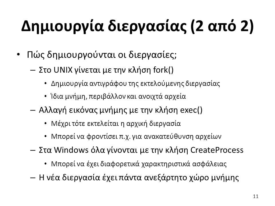 Δημιουργία διεργασίας (2 από 2)