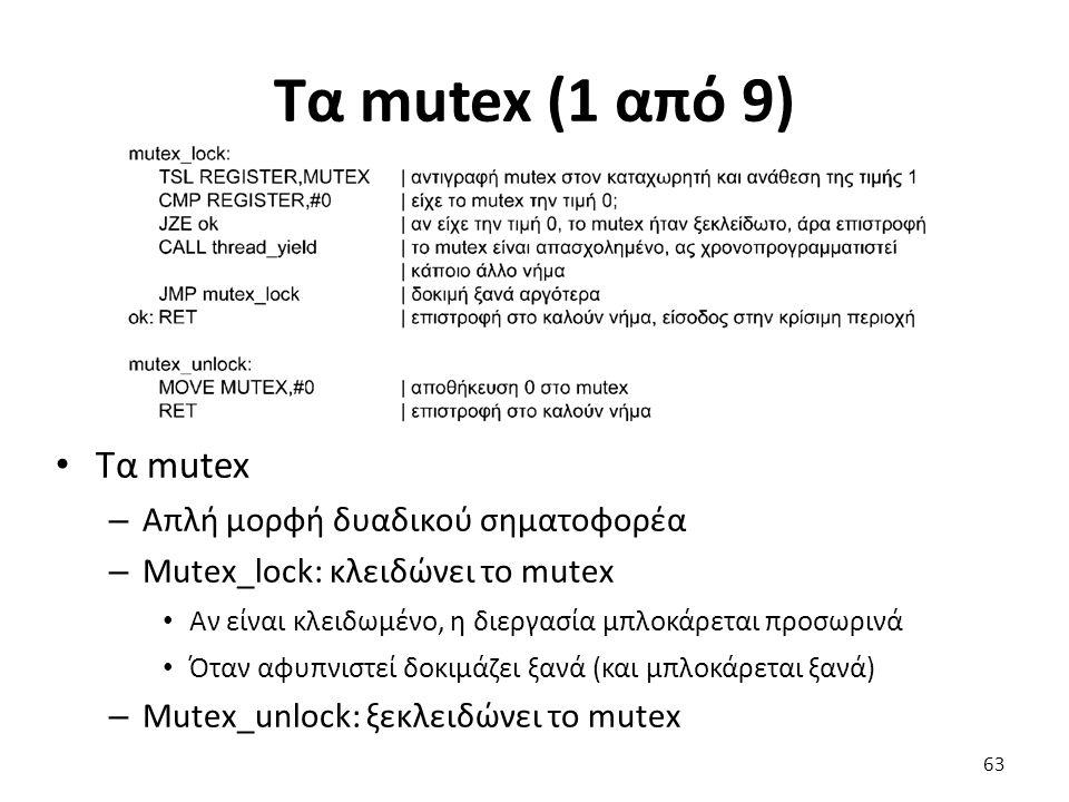 Τα mutex (1 από 9) Τα mutex Απλή μορφή δυαδικού σηματοφορέα